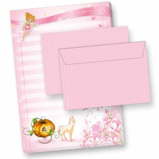 Briefpapier Set Prinzessin Rosanell (40-tlg.) für Mädchen 1 Schreibblock mit 25 Blatt + 15  Briefumschläge