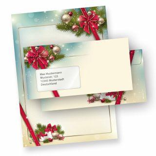 Briefpapier Weihnachten Set ROTE SCHLEIFE (10 Sets mit Fenster) bedruckt DIN A4 297 x 210mm 90 g/qm, Weihnachtsbriefpapier mit Umschläge