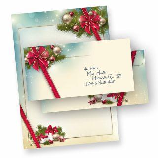 Briefpapier Weihnachten Set ROTE SCHLEIFE (10 Sets ohne Fenster) DIN A4 297 x 210mm 90 g/qm, Weihnachtsbriefpapier bedruckt mit Umschläge