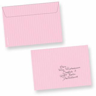 Briefumschläge ROSA C6 (50 Stück) beidseitig in feinem zartrosa Nadelstreifen-Design