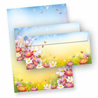 FLORENTINA Briefpapier Set (10 Sets)  DIN A4 297 x 210mm 90 g/qm,mit Briefumschläge - mit Blumen bunt