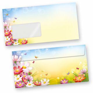 Briefumschläge Florentina (50 Stück m.F.) DIN lang Umschläge MIT Fenster mit Blumen bunt