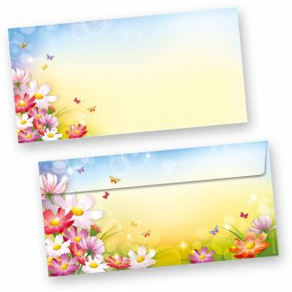 Briefumschläge Florentina (50 Stück o.F.) DIN lang Umschläge ohne Fenster mit Blumen bunt