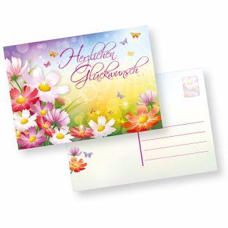 Postkarten Herzlichen Glückwunsch (10 Stück) schöne Glückwunschkarten Geburtstagskarten mit Blumen