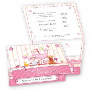 Süße Geburtskarten Mädchen (10 Sets) selbst bedruckbar - mit rosa Schleifchen, eigenes Bild