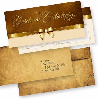 Geschenkgutscheine für Kunden (25 Stück inkl. Umschläge) einfach Werte eintragen und stempeln, für Firmen aller Art
