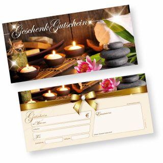 Gutscheine Massage + Wellness (25 Stück) einfach Werte eintragen und stempeln, für Massage & Beauty