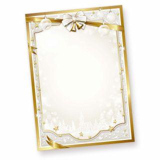 Briefpapier Weihnachten bedruckt GOLDEN ROYAL (50 Blatt) goldener Rahmen und Glocken, Briefbogen