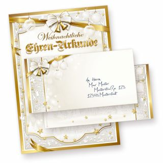 Ehren-Urkunde Weihnachten GOLDEN ROYAL (10 Sets ohne Fenster) Versenden Sie Ihre Weihnachtsgrüße als Urkunde mit diesem Briefpapier