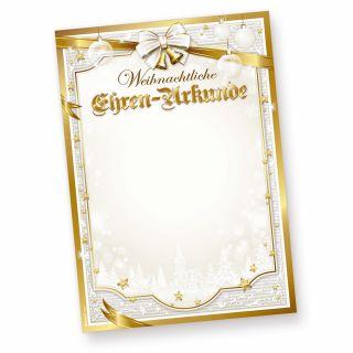 Ehren-Urkunde Weihnachten GOLDEN ROYAL (50 Blatt) Versenden Sie Ihre Weihnachtsgrüße als Urkunde mit diesem Briefpapier