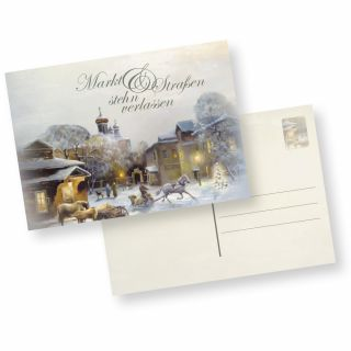 Postkarten Weihnachten Winter-Aquarell (10 Stück) nostalgische Weihnachtspostkarten DIN A6