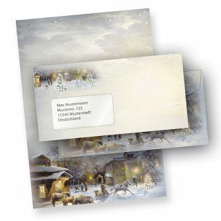 Briefpapier Weihnachten WINTER-AQUARELL (10 Sets mit Fensterumschläge) DIN A4 297 x 210mm 90 g/qm, Weihnachtsbriefpapier mit Umschläge