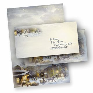 Briefpapier Weihnachten WINTER-AQUARELL (10 Sets ohne Fenster) DIN A4 297 x 210mm 90 g/qm, Weihnachtsbriefpapier mit Umschläge