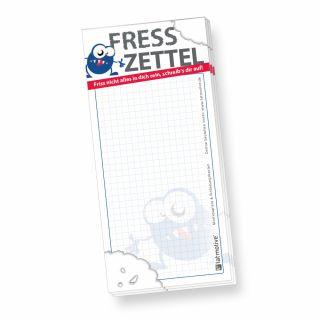 Notzblock Fresszettel kariert (4 Stück) Einkaufszettel Einkaufsblock Notizzettel Einkaufsliste witzig