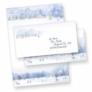 Briefpapier Weiße Weihnacht (10 Sets ohne Fenster) Weihnachtsbriefpapier mit Umschläge