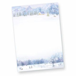 Briefpapier Weiße Weihnacht (50 Blatt) Weihnachtsbriefpapier bedruckt mit Winterlandschaft