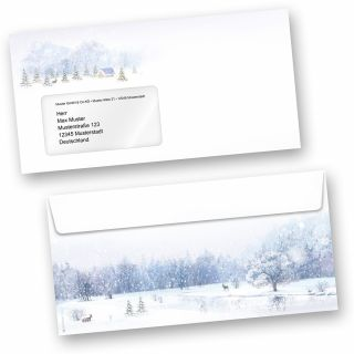 Weihnachtsumschläge Weiße Weihnacht (50 Stück mit Fenster) wunderschöne Winterland mit Weihnachtsbaum