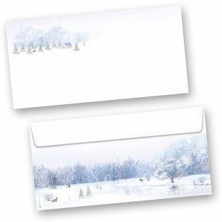 Weiße Weihnacht 50 Stück Weihnachts-Briefumschläge Din lang ohne Fenster Umschläge für Weihnachten selbstklebend haftklebend