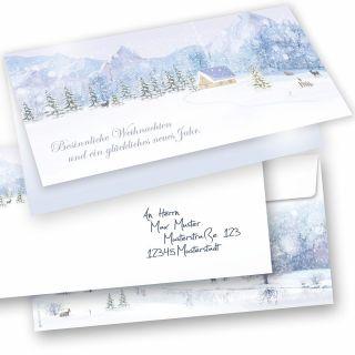 WEISSE WEIHNACHT Weihnachtskarten 15er SET Klappkarten DIN lang mit Umschlag, Design by Tatmotive