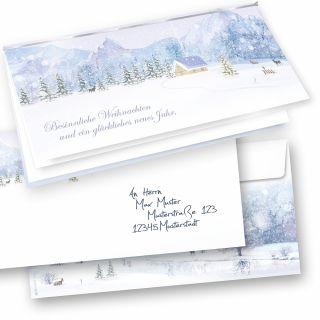 Weiße Weihnachten Weihnachtskarten Set (10 Sets) selbst bedruckbar, mit Umschläge