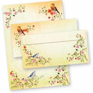 TOSKANA Briefpapier Set Blumen (10 Sets)  A4 297 x 210 mm 90 g/qm mit Briefumschläge DL  mit Vögel