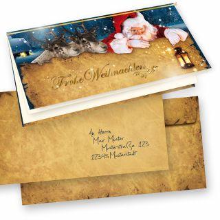 Nordpol Express Weihnachtskarten Set (10 Sets) selbst bedruckbar, mit Umschläge