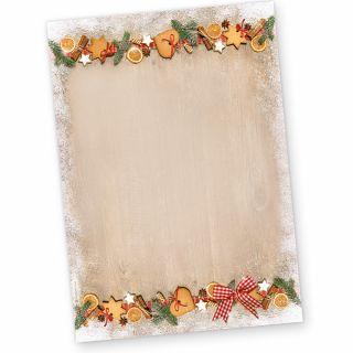 Briefpapier Weihnachten LANDIDYLLE (50 Blatt) Weihnachtsbriefpapier bedruckt mit Plätzchen
