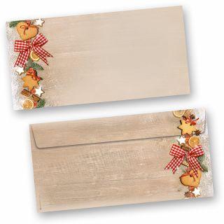 Briefumschläge Weihnachten LANDIDYLLE (50 Stück ohne Fenster) mit Plätzchen