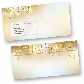 Stardreams 50 Stück Weihnachts-Briefumschläge Din lang mit Fenster Umschläge für Weihnachten selbstklebend haftklebend