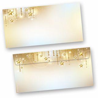 Stardreams 50 Stück Weihnachts-Briefumschläge Din lang ohne Fenster Umschläge für Weihnachten selbstklebend haftklebend