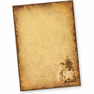 Briefpapier Weihnachten NOSTALGIE (50 Blatt) Weihnachtsbriefpapier mit Familie