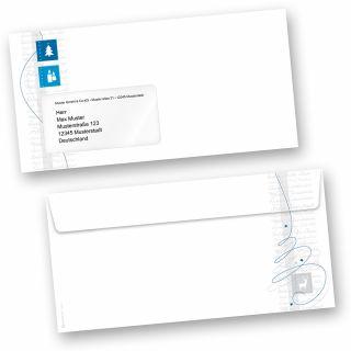 Blue Modern Art 50 Stück Briefumschläge Weihnachten Din lang mit Fenster Umschläge für Weihnachten selbstklebend haftklebend