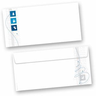 Blue Modern Art 50 Stück Briefumschläge Weihnachten Din lang ohne Fenster Umschläge für Weihnachten selbstklebend haftklebend