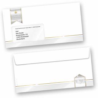 Business Design 50 Stück Weihnachts-Umschläge Din lang mit Fenster Umschläge für Weihnachten selbstklebend haftklebend