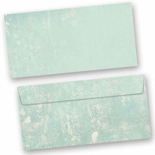 Briefumschläge Retro-Türkis  (50 Stück) DIN lang Umschläge im Vintage-Stil mit Haftklebestreifen