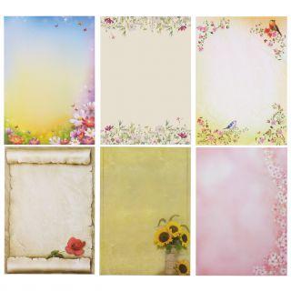 Briefpapier Mix Blumen 6 x 10 Blatt gemischte Briefpapiersammlung