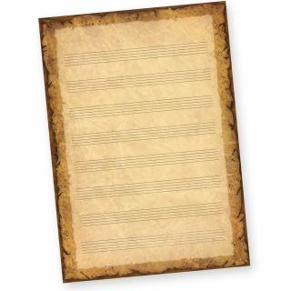Notenblätter Casanova A4 (50 Blatt) Notenpapier A4 mit historisch altem Hintergrund, beidseitig bedruckt