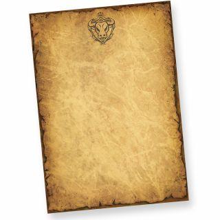 Altes-Briefpapier mit Sternzeichen Stier Wappen (50 Blatt) DIN A4 beidseitig