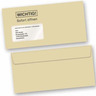 WICHTIG - SOFORT ÖFFNEN Briefumschläge DIN lang, mit Fenster 50 Stück Haftklebend