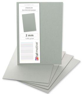 PREMIUM Buchbinderpappe 10 Stück DIN A3, Dicke 2 MM 1260 g/qm, Buchdeckel Grau-Karton Bastel-Pappe