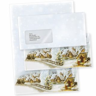 Weihnachtsdorf 10 Sets Weihnachtsbriefpapier mit Fensterumschlägen geschäftlich