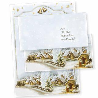Weihnachtsdorf 10 Sets Weihnachtsbriefpapier mit Umschläge ohne Fenster, für Geschäftskunden