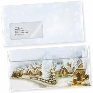 Weihnachtsdorf 50 Stück  Briefumschläge Weihnachten mit Fenster