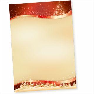 ROT-GOLDEN 50 Blatt Weihnachtsbriefpapier geschäftlich für Firmen