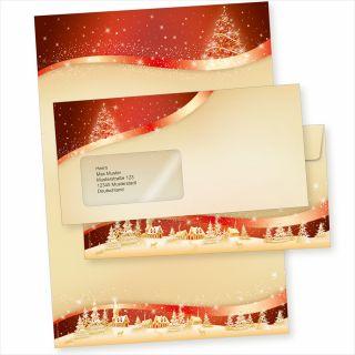 ROT-GOLDEN 10 Sets Weihnachtsbriefpapier mit Fensterumschlägen geschäftlich
