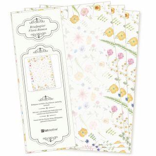 Flora Bianca Briefpapier 20 Blatt DIN A4 90 g/qm beidseitig floral nachhaltig gedruckt