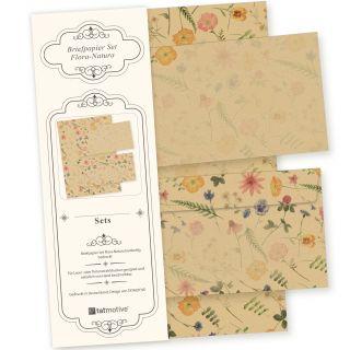 Flora-Natura Briefpapier Set Vintage Blumen 10 Sets DIN A4 90 g/qm inkl. florale Briefumschläge - nachhaltig gedruckt