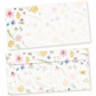 Flora-Bianca Briefumschläge  50 Stück DIN lang Umschläge selbstklebend ohne Fenster nachhaltig gedruckt