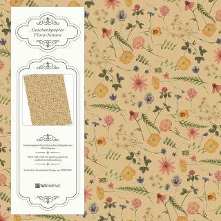 Flora-Natura Geschenkpapier Vintage Blumen floral 5 Bögen 84 x 59 cm, Öko Recycling-Papier nachhaltig gedruckt, für Geburtstag Geschenk
