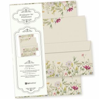 Wildblumen Briefpapier Set 10 Sets DIN A4 90 g/qm inkl. florale Briefumschläge - nachhaltig gedruckt